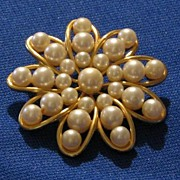 """Marvella"" Signed Faux Pearl Brooch"
