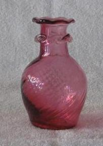 Cranberry Glass Vase With Rigaree At Neck