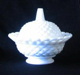 Fostoria Milk Glass Pierced Rim Covered Candy Dish