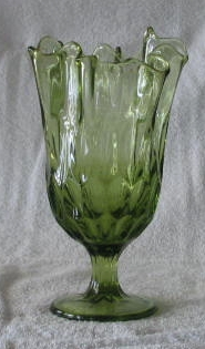 Fenton Colonial Green Swung Thumbprint Vase