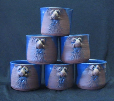 Set Of Six Artist Initialed Face Mugs