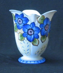 Blue Flower Decorated Vase With Cherry Blossom Mark