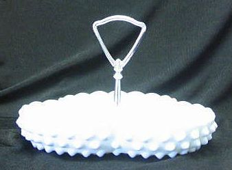Fenton Milk Glass Hobnail Handled Candy Dish
