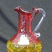Small Amberina Crackle Glass Pitcher