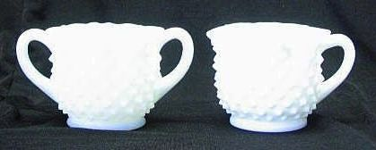 Fenton Star Crimped Hobnail Milk Glass Sugar And Creamer