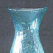 Pale Green Unmarked Crackle Glass Vase