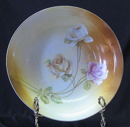 R S Germany Open Rose Decorated Bowl