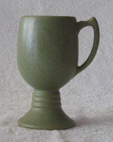Unmarked Speckled Green Pottery Goblet
