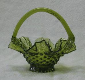 Green Hobnail Basket With Attached Handle