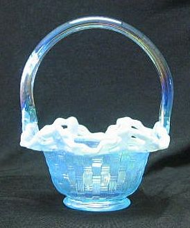 Fenton Light Blue Iridescent Basketweave Pattern Basket