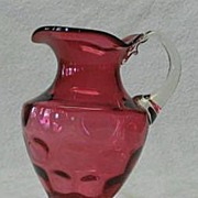 Cranberry Inverted Thumbprint Pitcher With Attached Handle