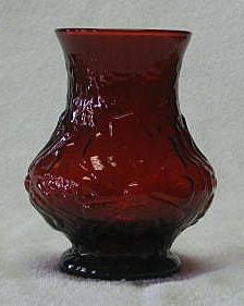 Ruby Colored Daisy Motif Vase