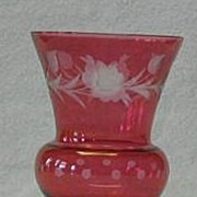 Ruby Flash Cut To Clear Vase