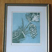 "Original Etching ""Winter White Pine"" by Freda A. Johnstone"
