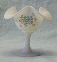 Fenton White Satin Glass Hand Decorated Compote