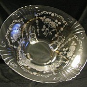 Fostoria Midnight Rose Etched Pattern Footed Bowl