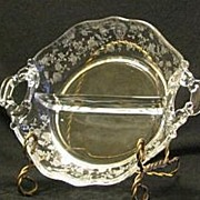 Cambridge Rose Point Handled Two Section Relish Dish
