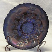 Fenton Blue Carnival Glass Holly Pattern Rose Bowl