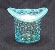 Fenton Blue Opalescent Hobnail Top Hat Toothpick Holder
