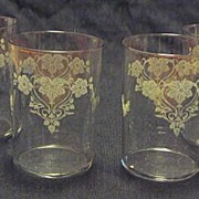 Set Of Four Tumblers With Etched Design