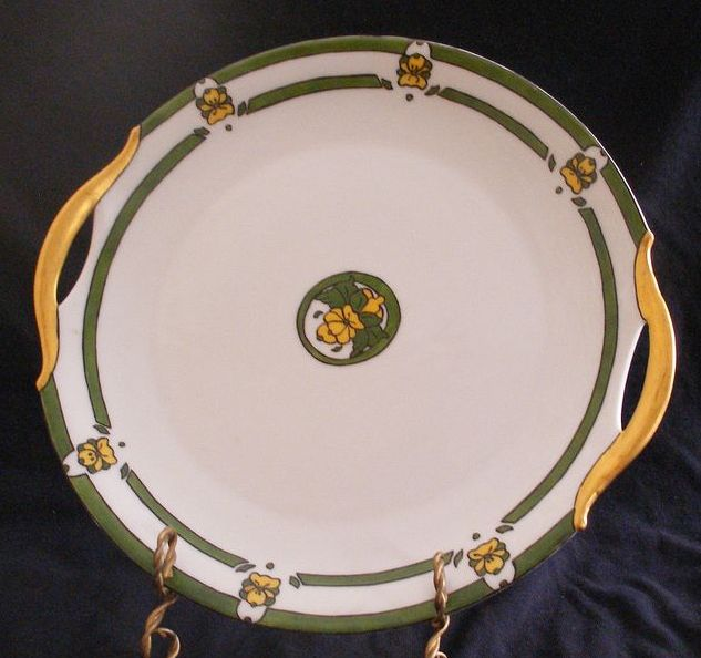 Hand Decorated Cake Plate On Bavarian Blank