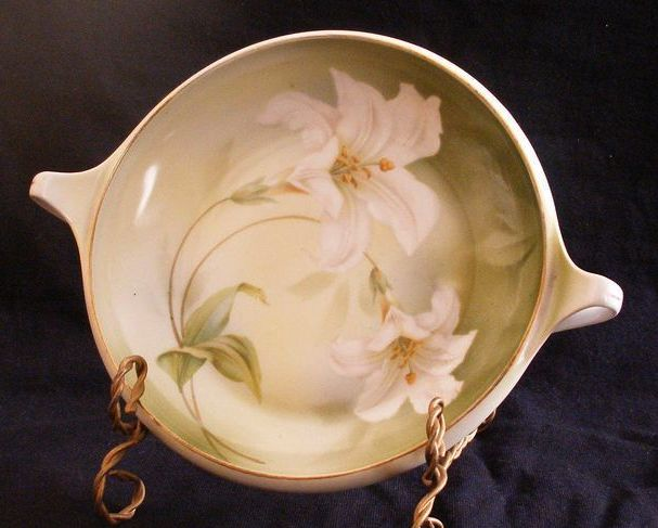 R S Germany Handled Bowl With Flower Decoration