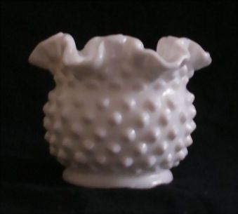 Fenton Milk Glass Hobnail Decorated Rose Bowl