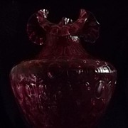 Large Fenton Cranberry Coin Dot Vase