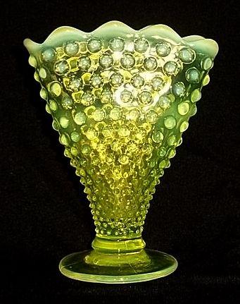Fenton Topaz Hobnail Opalescent Fan Vase