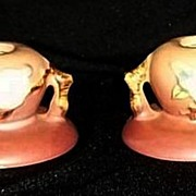 Pair Of Pink Apple Blossom Roseville Pottery Candleholders
