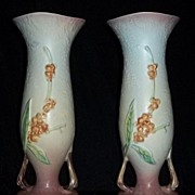 Pair Of Roseville Pottery Bittersweet Pattern Vases