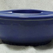 Unmarked Hall China Delphinium Blue Round Refrigerator Dish