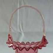 Fenton Ruby Overlay Diamond Optic Basket