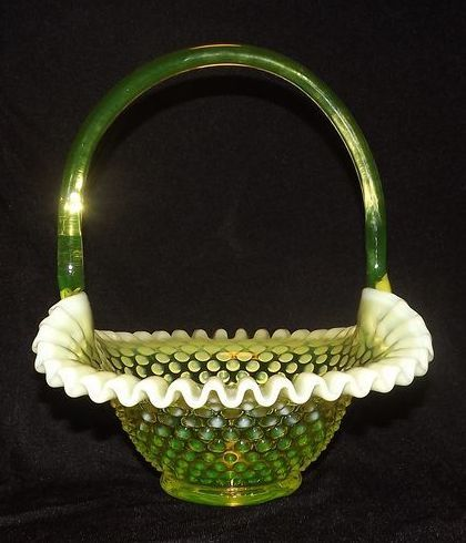 Fenton Topaz Opalescent Hobnail Basket From