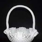 Fenton Hobnail Milk Glass Basket