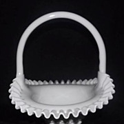 Fenton Pre Logo Milk Glass Hobnail Basket