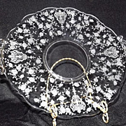 "Cambridge ""Rose Point"" Handled Cake Plate"