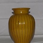 Unmarked Drip Mustard Glaze Ribbed Vase