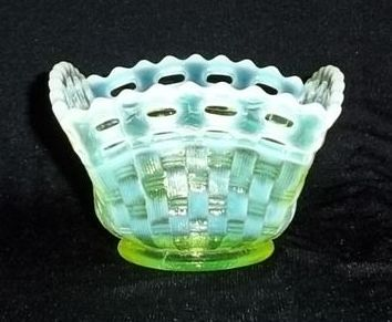 Fenton Topaz Opalescent Basketweave Square Bowl