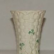 Belleek Shamrock Decorated Bud Vase