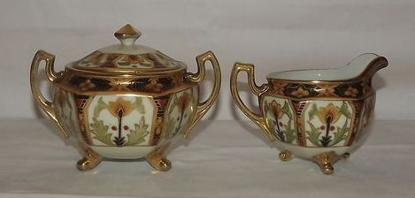 Noritake Hand Painted Covered Sugar Bowl And Creamer