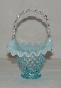 Small Pre Logo Fenton Blue Opalescent Hobnail Basket