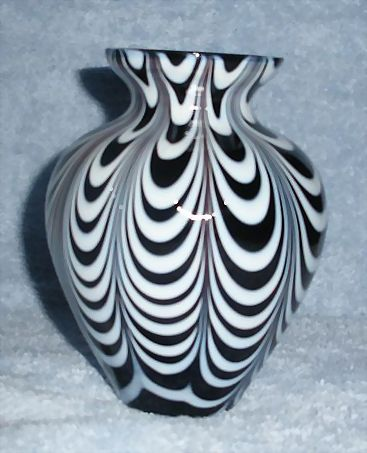 Black Art Glass Vase With White Draping