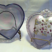 Large Iridescent Fenton Heart Shaped Dresser Box