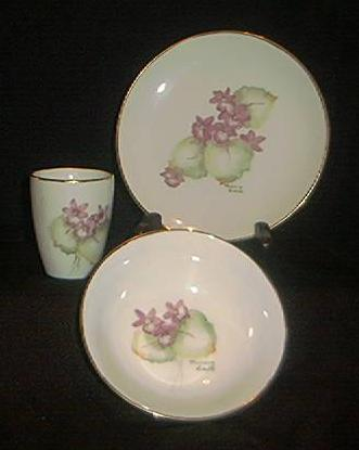 Set OF Three Porcelain Dishes Signed By Marion Smith