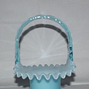 Fenton Blue Overlay Basket Form 1924