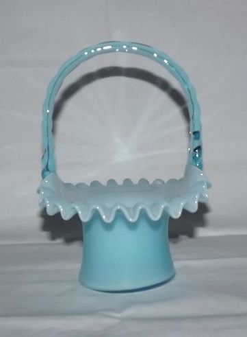 Fenton Blue Overlay Basket Form 1924