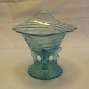 Light Blue Opalescent Rimmed Vase