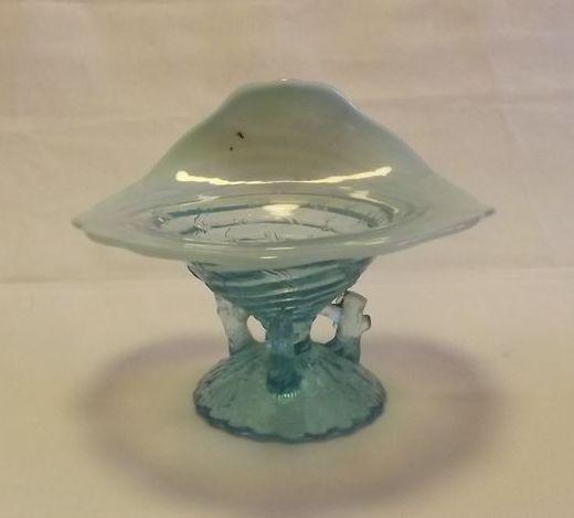 Wide Upturned Rim Light Blue Opalescent vase