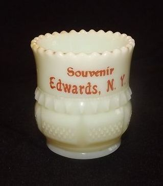 Souvenir Custard Glass Toothpick Holder From Edward's N.Y.